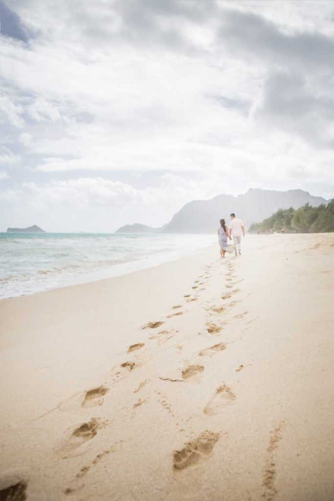 Waimanalo beach wedding engagement