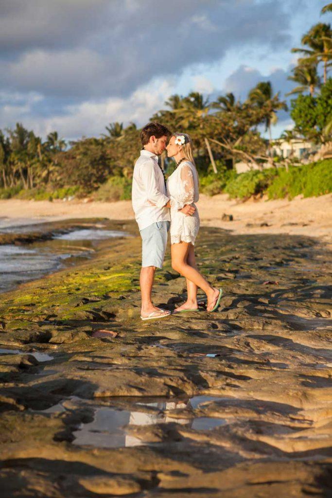 Sunset beach wedding engagement