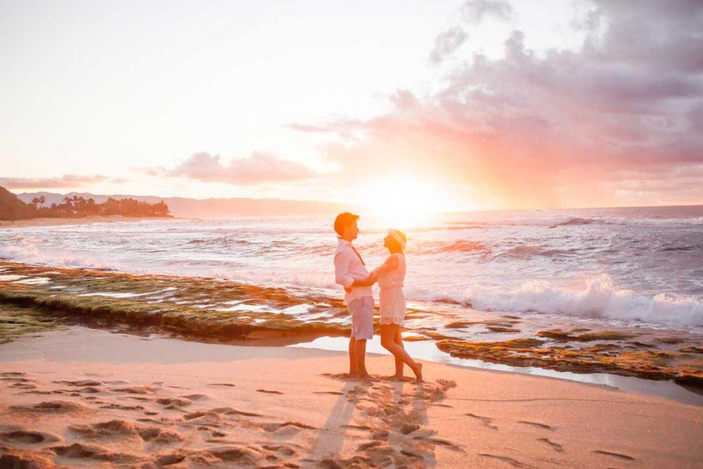 Sunset beach engagement oahu